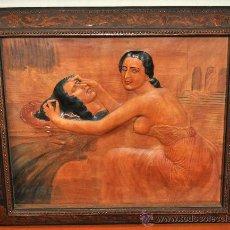 Arte: EL MARTIRIO DE SAN JUAN BAUTISTA. SALOME. PLAFON EN CUERO CALADO Y REPUJADO ART DECÓ. 1930. Lote 25814493