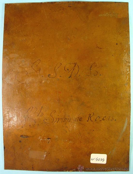Arte: SAN SIMÓN DE ROXAS. OLEO SOBRE COBRE. SIGLO XVIII. - Foto 6 - 27279583