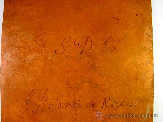 Arte: SAN SIMÓN DE ROXAS. OLEO SOBRE COBRE. SIGLO XVIII. - Foto 7 - 27279583