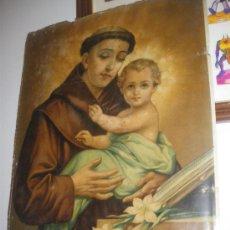 Arte: MUY ANTIGUA LAMINA DE SAN ANTONIO CON EL NIÑO JESUS. 38 X 49 CM.. Lote 25956671