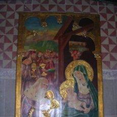 Arte: RETABLO RELIGIOSA NEOGOTICA PRINCIPIO S, XX,PINTADO A MANO Y DORADO, 70X47 CM. VER FOTGR.. Lote 54818402