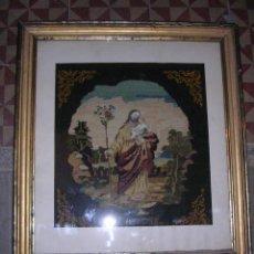 Arte: CUADRO BORDADO,PETIT POINT, Y PASAMANERIA DE CRISTAL - SAN JOSE- CON MARCO DORADO, S.XIX TODO DE EPO. Lote 26108742
