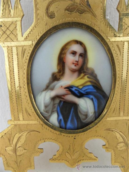 Arte: pintura esmalte y marco gotico metal dorado - Foto 2 - 26827730