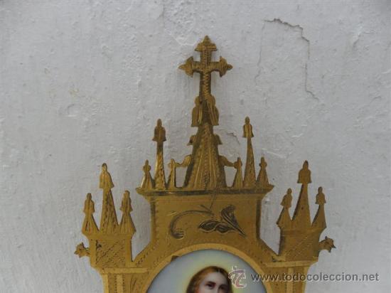 Arte: pintura esmalte y marco gotico metal dorado - Foto 3 - 26827730