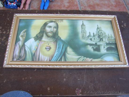 CUADRO SAGRADO CORAZÓN DE JESÚS, 46X25 CMS (Arte - Arte Religioso - Pintura Religiosa - Otros)