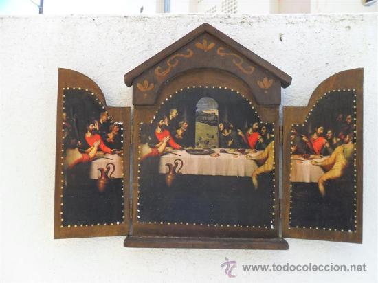 TRIPTICO DE MADERA Y LAMINA SANTA CENA (Arte - Arte Religioso - Trípticos)