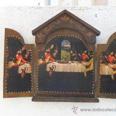 Arte: TRIPTICO DE MADERA Y LAMINA SANTA CENA. Lote 47165617