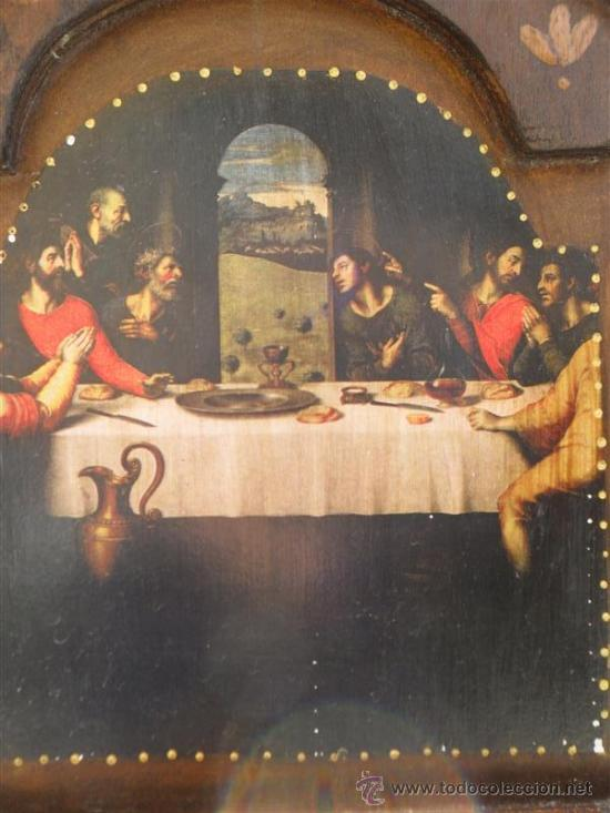 Arte: triptico de madera y lamina santa cena - Foto 2 - 47165617