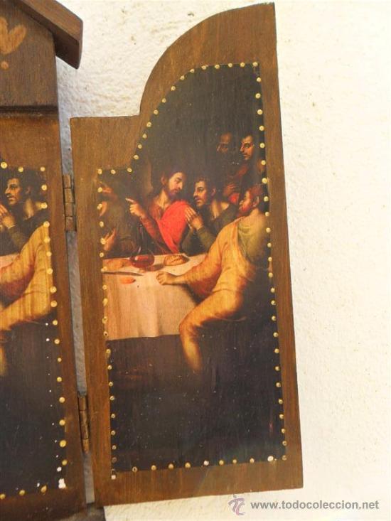 Arte: triptico de madera y lamina santa cena - Foto 4 - 47165617