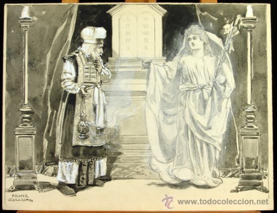 ANUNCIACIÓN A ZACARÍAS - FRANZ GAILLIARD (BÉLGICA, 1861-1932) (Arte - Arte Religioso - Pintura Religiosa - Otros)