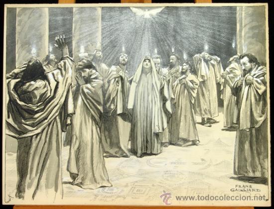 PENTECOSTES ( ESPÍRITU SANTO) - FRANZ GAILLIARD (BÉLGICA, 1861-1932) (Arte - Arte Religioso - Pintura Religiosa - Otros)