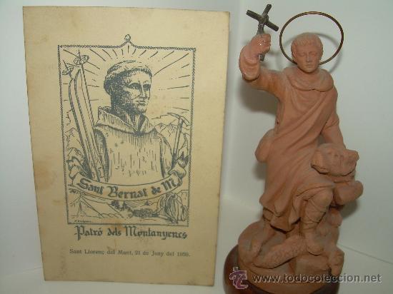 ANTIGUA Y BONITA FIGURA DE............ SANT BERNAT ....FIRMADA POR M. MUNS (Arte - Arte Religioso - Escultura)