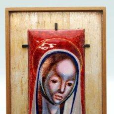 Arte: ESMALTE VINTAGE VIRGEN MARIA SOBRE ESTRUCTURA DE MADERA AÑOS 60. Lote 28292129