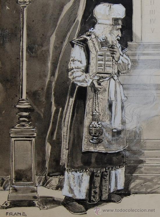 Arte: ANUNCIACIÓN A ZACARÍAS - FRANZ GAILLIARD (Bélgica, 1861-1932) - Foto 2 - 27956452