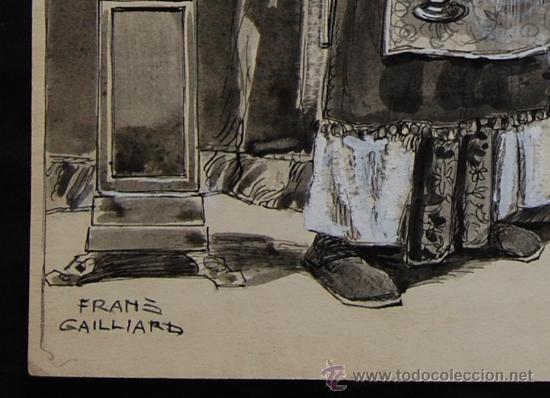 Arte: ANUNCIACIÓN A ZACARÍAS - FRANZ GAILLIARD (Bélgica, 1861-1932) - Foto 3 - 27956452