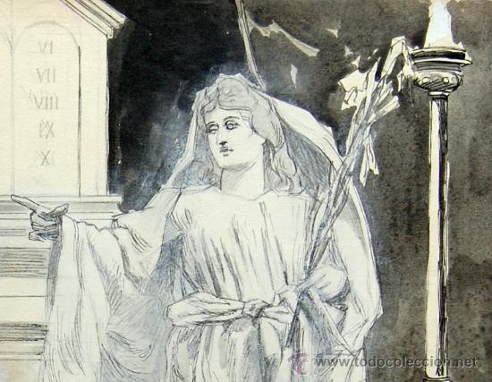Arte: ANUNCIACIÓN A ZACARÍAS - FRANZ GAILLIARD (Bélgica, 1861-1932) - Foto 4 - 27956452