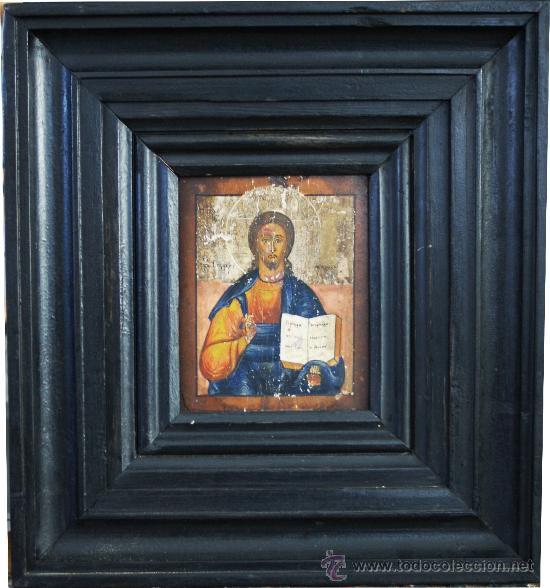 ICONO RUSO - REPRESENTACIÓN DE CRISTO BENDICIENDO CON EL LIBRO DE LA SABIDURÍA - S. XVIII (Arte - Arte Religioso - Iconos)