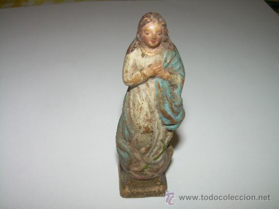 ANTIGUA Y PEQUEÑA IMAGEN RELIGIOSA POLICROMADA DE TERRACOTA....SIGLO XVIII - XIX. (Arte - Arte Religioso - Escultura)