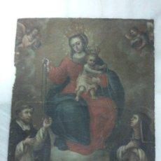 Arte: ÓLEO LIENZO VIRGEN DEL ROSARIO FECHADA 1779. Lote 31279763