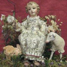 Arte: PRECIOSO NIÑO JESUS PASTORCITO DEL S. XIX METIDO EN UN FANAL ( CIRCA 1850 ). Lote 29353847