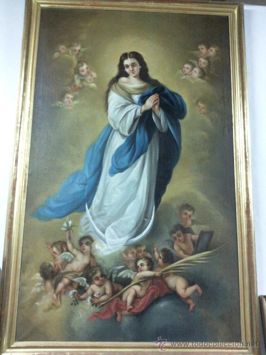 ANTIGUO ÓLEO LIENZO VIRGEN SIGLO XIX (Arte - Arte Religioso - Pintura Religiosa - Oleo)