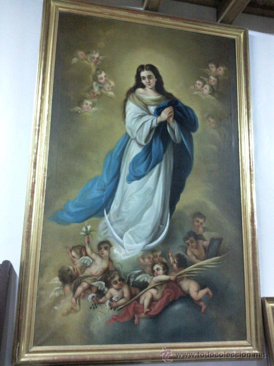 Arte: Antiguo óleo lienzo Virgen Siglo XIX - Foto 2 - 29388620