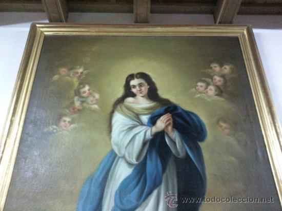 Arte: Antiguo óleo lienzo Virgen Siglo XIX - Foto 3 - 29388620