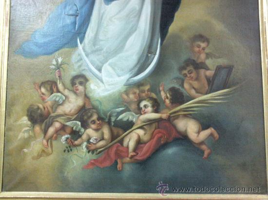 Arte: Antiguo óleo lienzo Virgen Siglo XIX - Foto 22 - 29388620