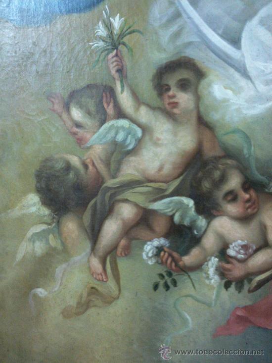 Arte: Antiguo óleo lienzo Virgen Siglo XIX - Foto 18 - 29388620