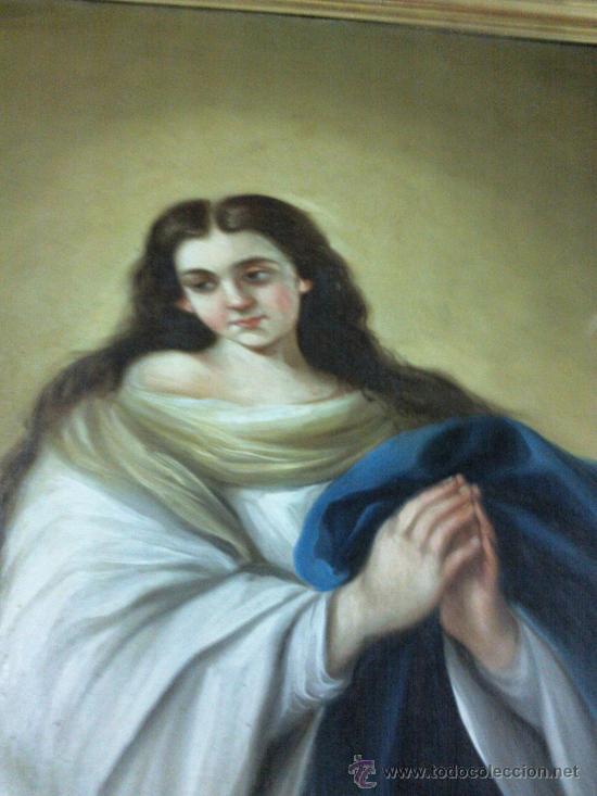 Arte: Antiguo óleo lienzo Virgen Siglo XIX - Foto 16 - 29388620