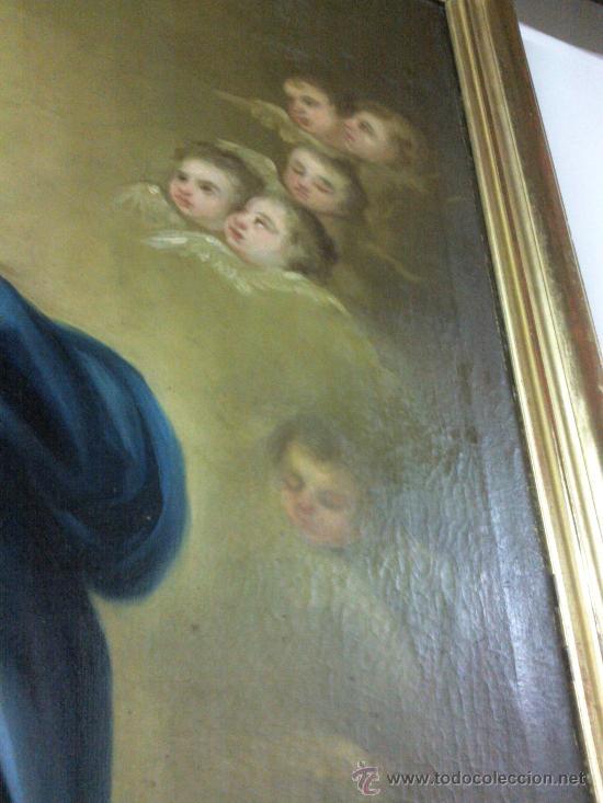Arte: Antiguo óleo lienzo Virgen Siglo XIX - Foto 12 - 29388620
