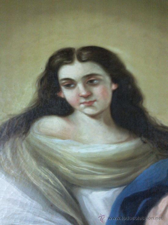 Arte: Antiguo óleo lienzo Virgen Siglo XIX - Foto 11 - 29388620