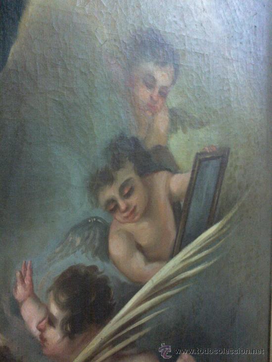 Arte: Antiguo óleo lienzo Virgen Siglo XIX - Foto 9 - 29388620