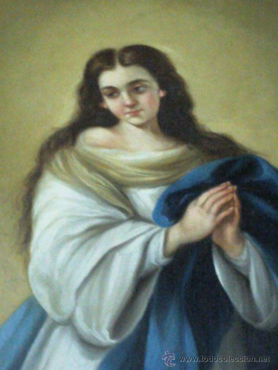Arte: Antiguo óleo lienzo Virgen Siglo XIX - Foto 4 - 29388620