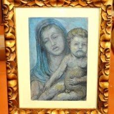 Arte: LLUCIÀ OSLÉ I SAENZ DE MEDRANO. OLEO SOBRE PAPEL DE LOS AÑOS 20-30. VIRGEN CON NIÑO. Lote 29485105