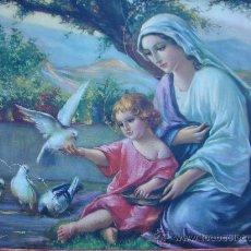 Arte: ANTIGUA LITOGRAFIA. MANUEL GONZALEZ SANTOS. VIRGEN CON EL NIÑO JESUS. CON BONITO MARCO DE LA EPOCA. Lote 29575379