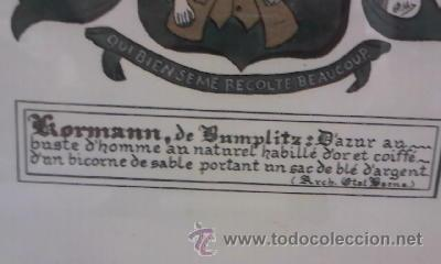 Arte: Pintura acrílica y oro sobre papel de un escudo familiar suizo.Apellido KRORMANN. - Foto 3 - 29660005