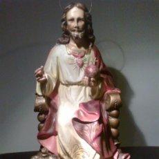 Arte: JESÚS ENTRONIZADO. ESCULTURA DE OLOT. Lote 29675160