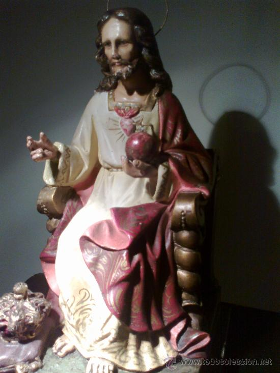 Arte: JESÚS ENTRONIZADO. ESCULTURA DE OLOT - Foto 4 - 29675160