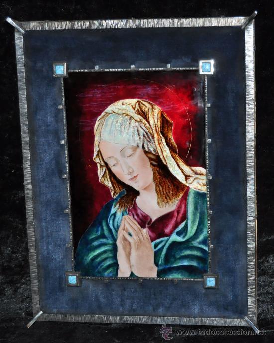 PRECIOSO ESMALTE MODERNISTA DE LA VIRGEN CON MARCO EN PLATA Y PEDRERIA. CIRCA 1920 (Arte - Arte Religioso - Pintura Religiosa - Otros)