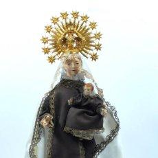 Arte: VIRGEN DE CAP Y POTA CON NIÑO, POPULAR, DE MADERA. 35 CM DE ALTURA SIN LA CORONA. . Lote 29826144