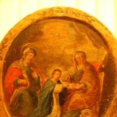 Arte: TONDO O ESTRUCTURA CIRCULAR DE MADERA CON PINTURA RELIGIOSA S.XVII. Lote 29842459