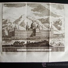 Arte: 1741-GRABADO ORIGINAL DEL MONASTERIO DEL ESCORIAL.MADRID.JUAN ALVAREZ DE COLMENAR.. Lote 30226299