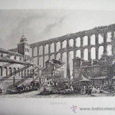 Arte: 1850C.-MERCADILLO EN EL ACUEDUCTO DE SEGOVIA.GRABADO ORIGINAL.. Lote 30226549