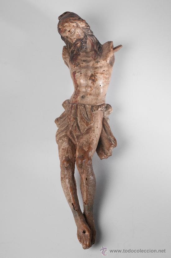 CRISTO MUTILADO EN MADERA TALLADA CON RESTOS DE POLICROMÍA, FINALES SIGLO XVIII (Arte - Arte Religioso - Escultura)