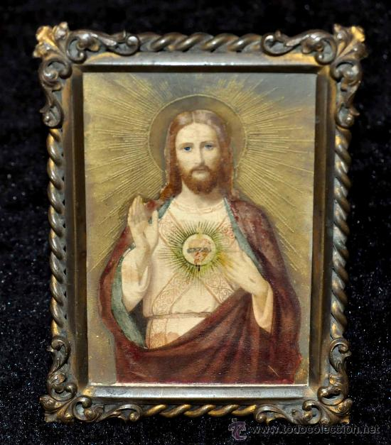 IMAGEN PINTADA DEL SAGRADO CORAZÓN DEL SIGLO XIX. CON MARCO ORIGINAL DE ÉPOCA (Arte - Arte Religioso - Pintura Religiosa - Otros)