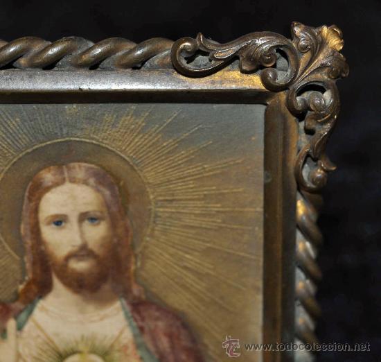 Arte: IMAGEN PINTADA DEL SAGRADO CORAZÓN DEL SIGLO XIX. CON MARCO ORIGINAL DE ÉPOCA - Foto 2 - 30412963