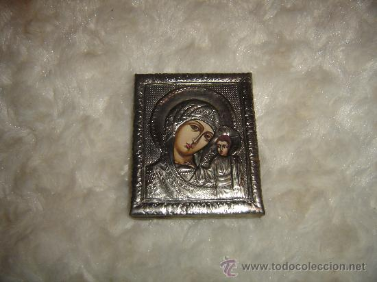 ICONO ORTODOXO BAÑO DE PLATA. 7 X 5,5 CTS. (Arte - Arte Religioso - Iconos)