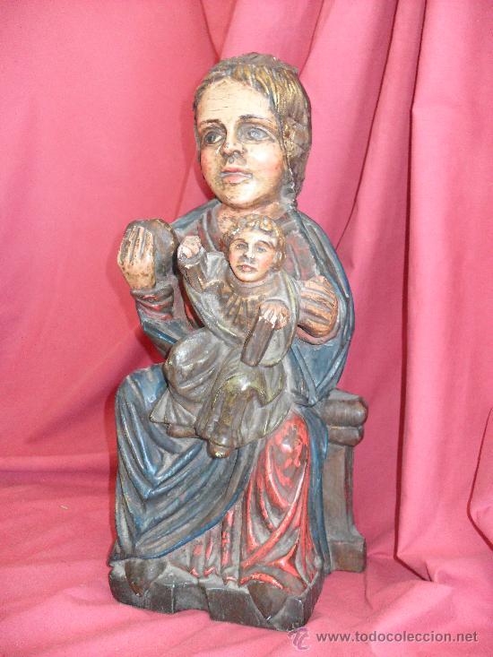 VIRGEN TALLA MADERA POLICROMADA ESTILO ROMANICO (Arte - Arte Religioso - Escultura)