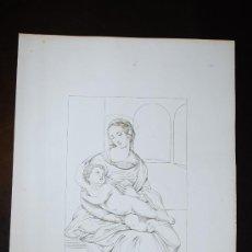 Arte: LA VIRGEN MARÍA CON EL NIÑO JESÚS. GRABADO ORIGINAL PRINCIPIOS SIGLO XIX.. Lote 30884808